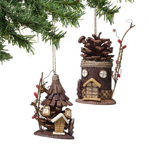 Pinecone House Ornaments Set of 2